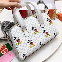 Hipgirls GUCCI & Disney Fashion New More Letter Mouse Leather Pillow Shape Shopping Leisure Shoulder Bag Crossbody Bag Handbag White