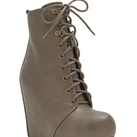 Hide 'N Chic Faux Leather Wedge Booties