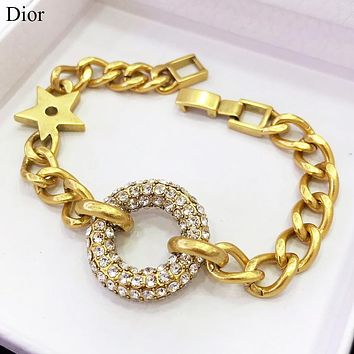 Dior New fashion diamond round circle chain bracelet Golden