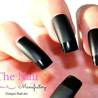 Black Fake Nails - Set of Handpainted French Style Nails in Matte Black with Glossy Tips - False Nails Square Shape - Black Nails