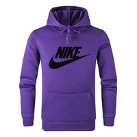N NIKE New fashion letter hook print hooded long sleeve sweater top Purple