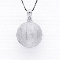 "Sterling Silver 3-d Volleyball Necklace Pendant with 18"" Box Chain"