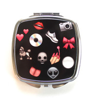 Pink and Black Emoji Compact Mirror