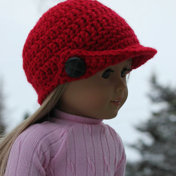 red crochet beanie hat with bill, crochet doll hat, 18 inch doll clothes, american girl, maplelea