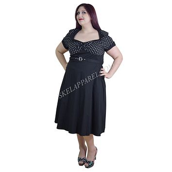 60's Vintage Inspired Plus Size Vintage Retro Design Polka Dot Flare Party Dress
