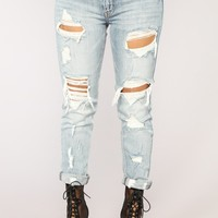 Love You To Pieces Ankle Jeans - Light Blue Wash