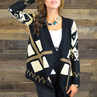 Cold Snap Black & Brown Tribal Sweater Cardigan
