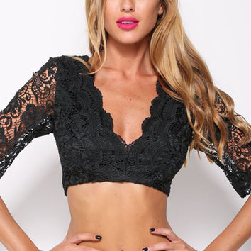 Black V- Neckline Lace Crop Top with Sheer Lace Sleeves