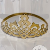 Medieval handmade brass crown with celtic pattern for sale :: by medieval store ArmStreet