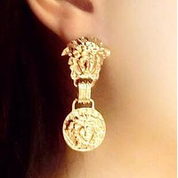 VERSACE Classic Women Personality Pendant Earrings Accessories Jewelry Golden