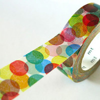 Spots Japanese Washi Tape MT Masking Tape - RED YELLOW Colorful Dots - Pretty Tape