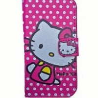 Hello Kitty Hot Pink Polka Dot PU Flip Case Cover Wallet for Iphone 4/4s by Jersey Bling