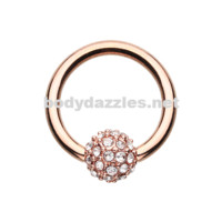 Rose Gold Full Dome Pave Steel Captive Bead Ring 14ga 16ga Belly Ring Cartilage Tragus Daith Helix Rook
