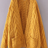 Ginger Drop Shoulder Cable Knit Cardigan With Pockets