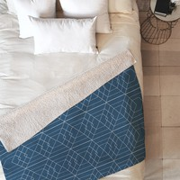 Vy La Blue Hex Fleece Throw Blanket