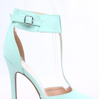 MENTHOL NUBUCK FAUX LEATHER T-STRAP POINTED TOE ANKLE STRAP PUMPS