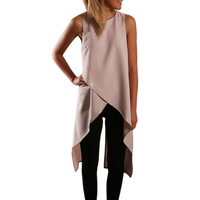 New Arrival Women Ladies Sexy Asymmetrical Cut Out High Low Tank Tops Summer Casual Loose Beach Bandage Vest Tee Shirts Z1