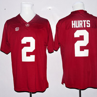 Hot Sale 2 Jalen Hurts Jersey Alabama Crimson Tide College Jalen Hurts Football Jerseys Home Red Away White Men Breathable Best Quality
