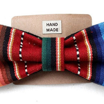 Handmade Mexican Red Serape Clip On Bowtie
