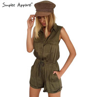 Simplee Apparel Chic sleeveless elegant jumpsuit romper women Summer beach pocket black playsuit Casual party one piece overalls