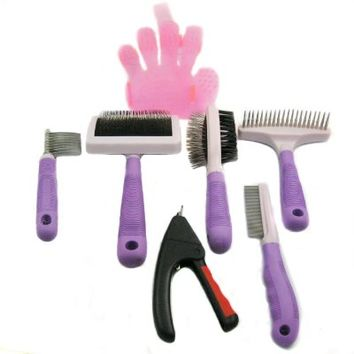 Alfie Pet by Petoga Couture - 7-piece Pet Home Grooming Kit - Double-Sided Brush, Flea Comb, Nail Trimmer, Slicker Comb, Dematting Tool, Undercoat Rake, Bath Massage Glove - Large Size
