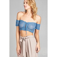 Blue Mesh Crop Top