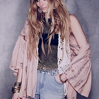 Free People FP New Romantics Embroidered Wrap