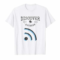 Discover Sky Sea Outdoor Wifi Typography T-Shirt