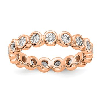 1 Ct. Bezel Set Diamond Eternity Wedding Band Ring in 14k Rose Pink Gold