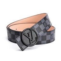LV tide brand men and women classic chess board old flower smooth buckle belt Black check
