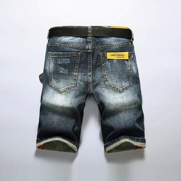 Ripped Holes Denim Summer Slim Stylish Shorts [3501327286365]