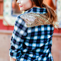 THE ULTIMATE SEQUIN FLANNEL TOP BLACK/PURPLE MULTI