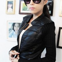 new arrival 2014 leather coat clothing women short design slim PU leather jackets yarn knitted sleeve patchwork Free shipping-in Basic Jackets from Apparel & Accessories on Aliexpress.com | Alibaba Group