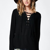 LA Hearts Lace-Up Tunic Top - Womens Shirts