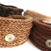 Earth Friendly Knitted Cord Bracelet -Brown Shades- set of 4