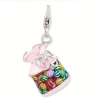 Best Designer Jewelry Sterling Silver Enameled 3-D Candy Jar w/Lobster Clasp Charm