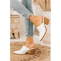 Leaving Now Snake Print Heeled Mules (White)