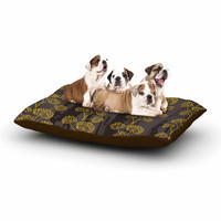 "Neelam Kaur ""Textured Floral Elegance"" Brown Yellow Dog Bed"