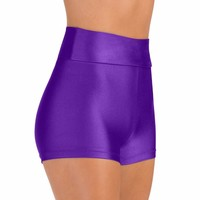Nylon Lycra Child High Waist Dance Shorts For Boys Spandex Gymnastics Shorts Hot High Waisted Shorts For Teen Girls Juniors