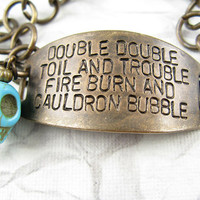 Double Double Toil and Trouble Halloween Bracelet by CobwebCorner