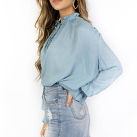Brookefield Vintage Blue Long Flare Sleeve Button Down Shirt