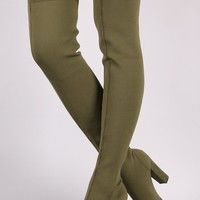 Pointy Toe Chunky Heeled Over-The-Knee Boots