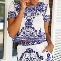 Porcelain Print Short Sleeve Cropped Top with Shorts Set