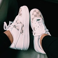 Nike WMNS Air Force 1 x Louis Vuitton new couples plaid print low-top sneakers Shoes