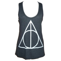Triangle tank top size S M L XL XXL Harry Potter tops Light black singlet**sleeveless tank**racerback tank top**plus size