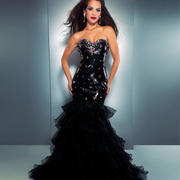 Mac Duggal 2013 Prom Dresses - Strapless Black Sequined Mermaid Gown with Rhinestone Embellishment
