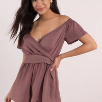 Leah Off Shoulder Wrap Romper