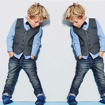 Beautiful baby boy gentleman clothing sets kids clothes set shirt +vest +jeans +bow tie for boy reail