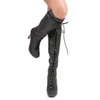 Qupid Puffin-74 Lace Up Knee High Platform Boot BLACK