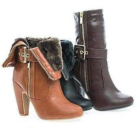 Mozza14 By Bamboo, Almond Toe Foldable Cuff Fur Lined Zip Up Boots